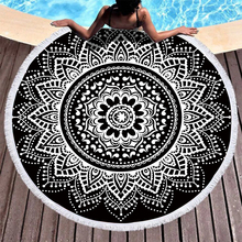 Boho Beach Towels Printed Black Mandala Towel Microfiber Round Fabric Bath For Living Room Home Decorative