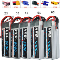 HRB FPV 450 500 7.4V 11.1V 14.8V 18.5V 22.2V 5000mAh 50C 100C 2S 3S 4S 5S 6S LiPo Battery For Traxxas Car Helicopter Boat
