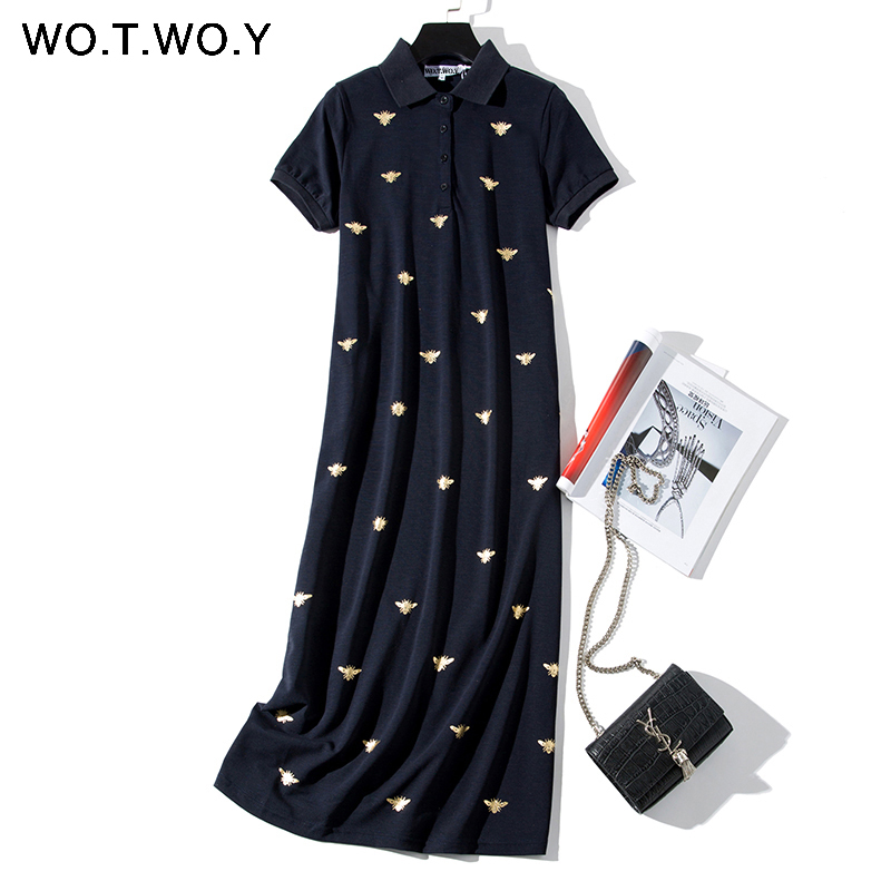 Bee Print Long Knee-Length Shirt Dresses Women 2019 Casual Turn-down Polo Straight Dress Female Pockets Cotton Clothes