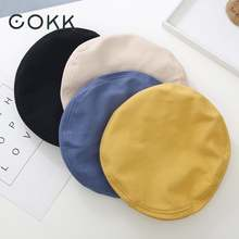 Женский винтажный берет cokk однотонный из хлопка в стиле ретро