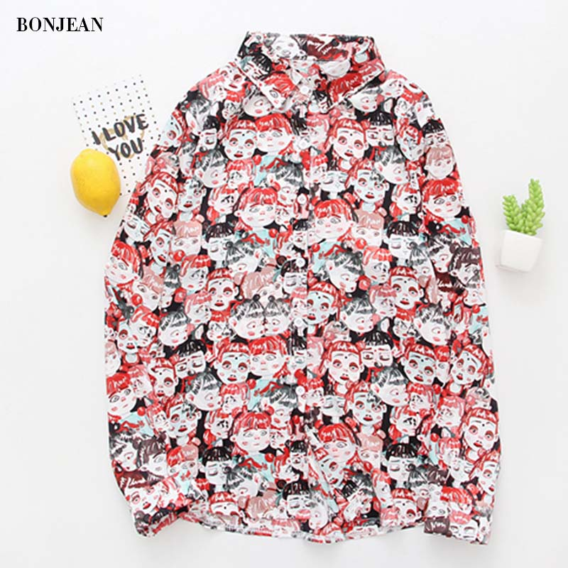 Kawaii Spring Women Blouse Harajuku Cartoon Vintage Printed Casual Chiffon Shirt Plus Size Loose Lady Office Blouses Female 2020