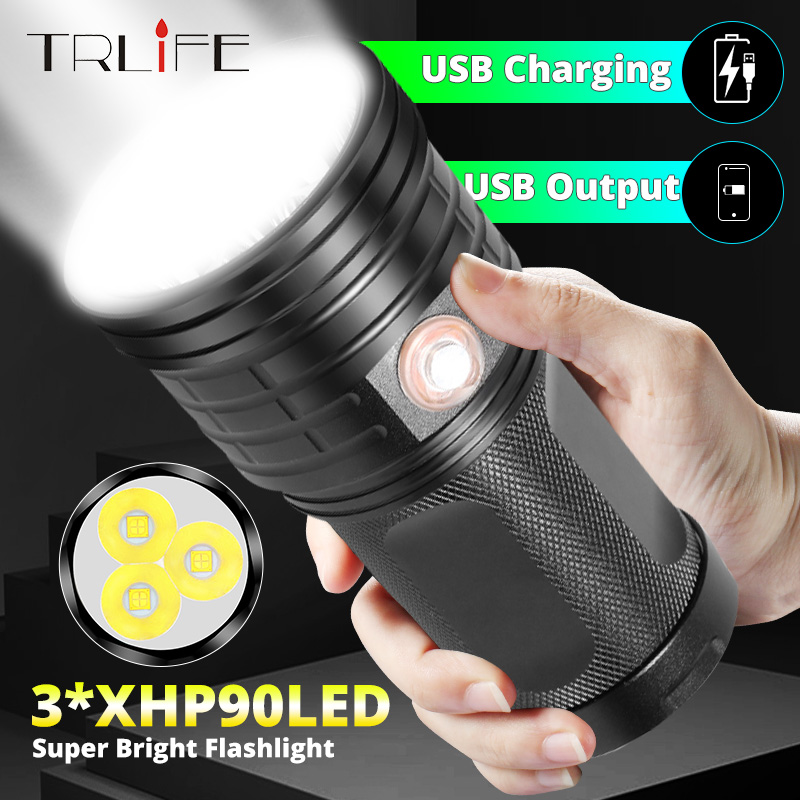 Xlamp LED Searchlight Ultra Powerful T6 Flashlight XHP90 Torch Lanterna USB Charging Lamp Portable Power Bank Light By 18650