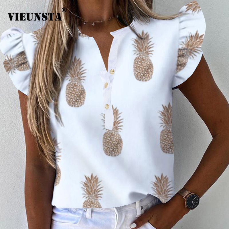 Pineapple Print V Neck Button Blouse Shirt Women 2020 Summer Butterfly Sleeve Casual Shirts Elegant Office Lady Blouse Sexy Tops
