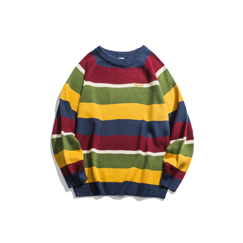 Japanese Harajuku Knitted Embroidery Striped Sweater For Men And Women Casual Raglan Sleeve Striped Pullover Jumper Plus Size