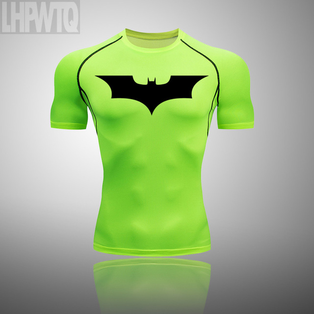 Men s Sports Suit Gym Fitness Compression Clothes Batman Short sleeve t-shirt Running Jogging shirt Wear Exercise Workout Tights