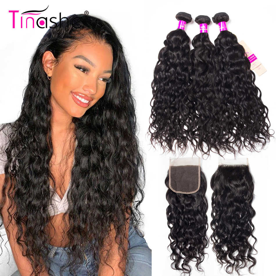 Tinashe Water Wave Bundles With Closure Brazilian Hair Weave Bundles With 5X5 Closure H Human Hair 6x6 Lace Closure And Bundles