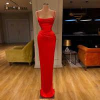 Vestido de noche elegante de sirena roja 2020, vestidos largos de noche con tirantes finos, encantadores vestidos formales de fiesta, bata de talla grande de noche