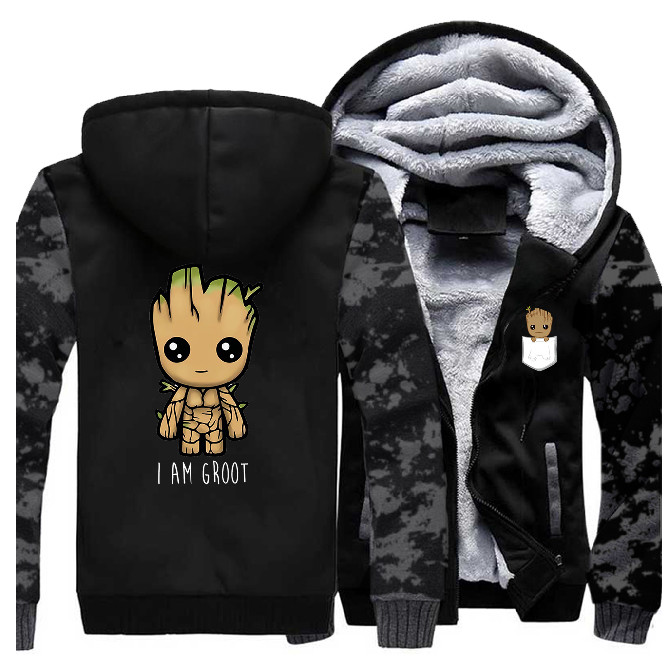 I Am Groot Mens Comouflage Thick Hoodies Winter Sweatshirt High Quality Warm Coat Cartoon Groot Man Jacket Harajuku Streetwear