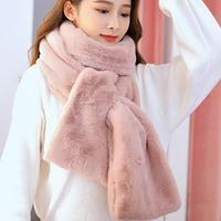 Women's Warm And Comfortable Plush Scarf Winter Thickn Solid Color Lady Fashion Scarf