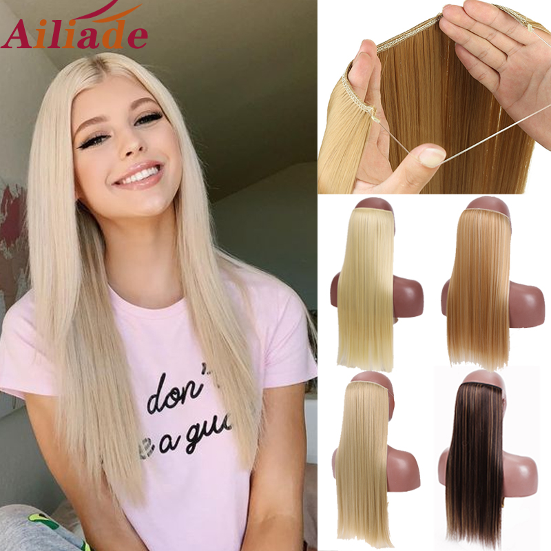 AILIADE Long Straight hair Invisible no clip Secret Fish Line Synthetic Hair Extensions Heat Resistant fiber Hairpiece 22inch