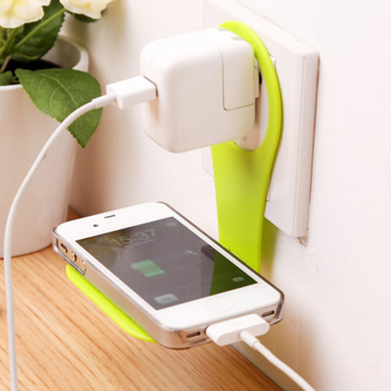 Mobile Phone Charger Holder Stand Wall Hanger Mount Adapter Cable Tidy Folding Universal Portable Random Color