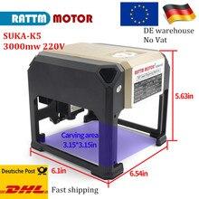 EU shipping 3000mw CNC laser machine Engraving wood leather bamboo etc. DIY Logo laser marking machine