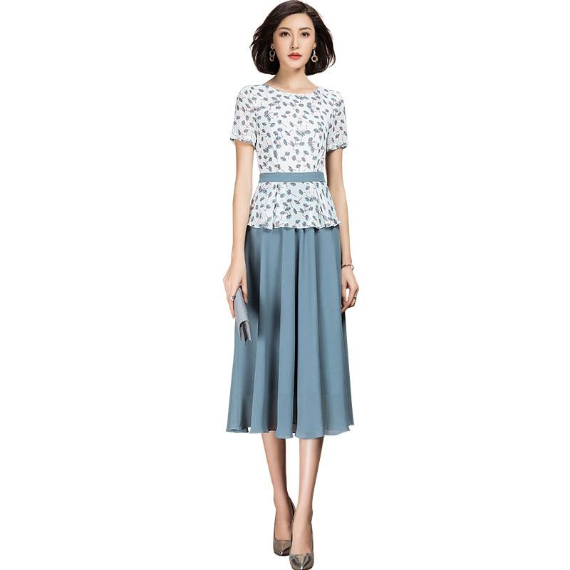2021 verão doce elegante manga curta chiffon retalhos uma linha floral vestido feminino