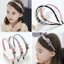 Корейская повязка на голову с цветами для девочек стразы в виде
