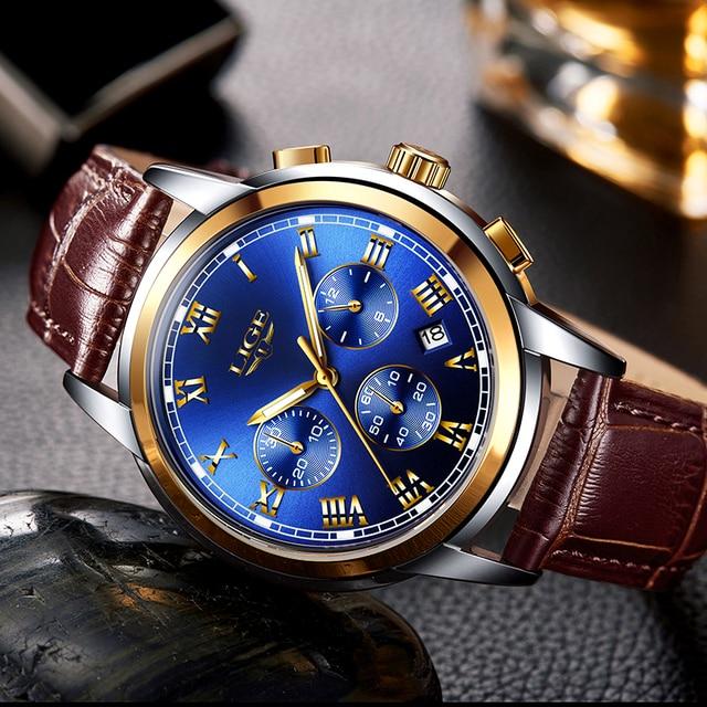 LIGE Gold Watch Men Fashion Business Quartz Clock Men's Watches Top Luxury Waterproof Leather Military Watch Relogio Masculino