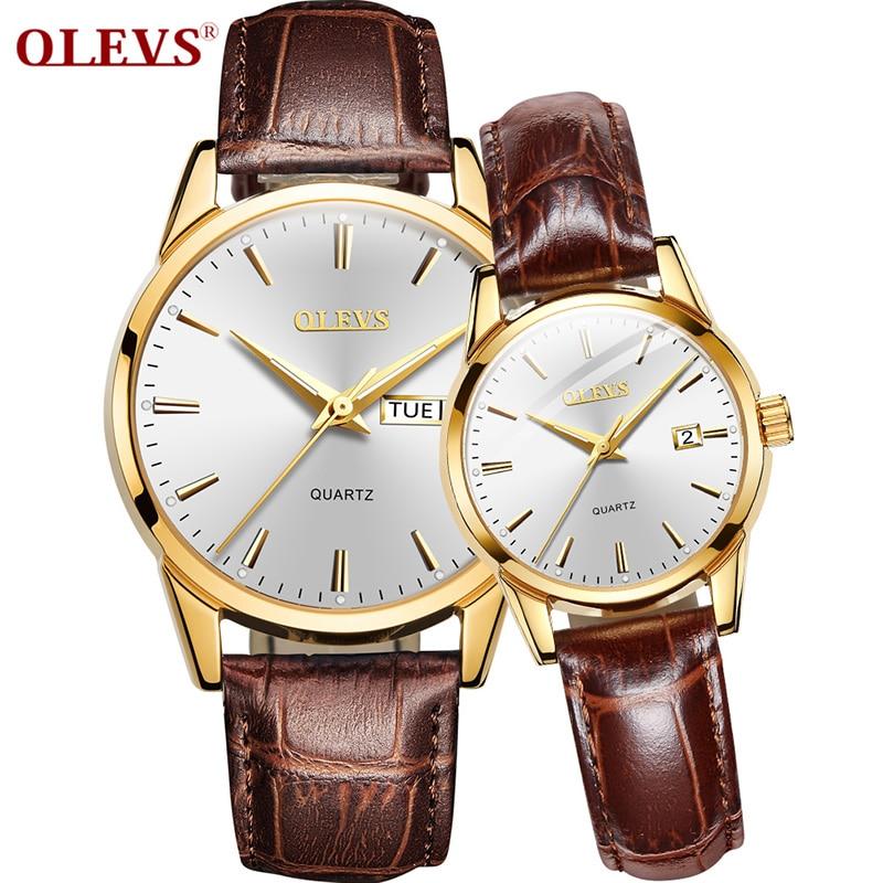 OLEVS Couple Watch Top Brand Luxury Quartz Men Women Watches Fashion Business Clock Leather Wristwatch Reloj Hombre Montre Femme
