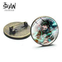 SIAN Cool Japanese Anime Characters Brooch My Hero Academia Cartoon Print Bronze Plated Brooches Glass Bag Badge Pins for Friend