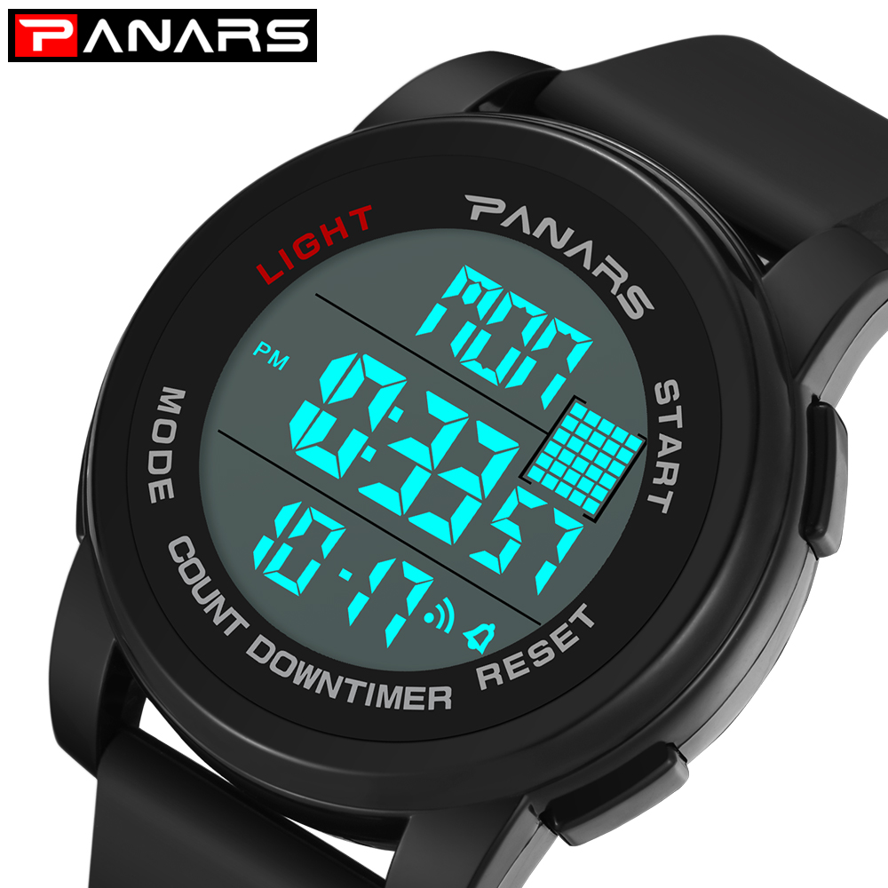 Sport Watch Timer Alarm PANARS Running Outdoor 12/24-Hours Chronograph Digital Horloge