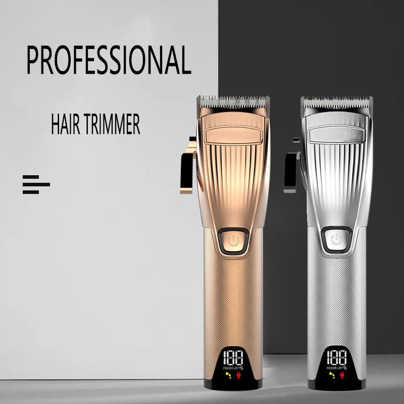 sliver aparador de cabelo dos homens display lcd barbearia recarregavel profissional corte de cabelo eletrico metal