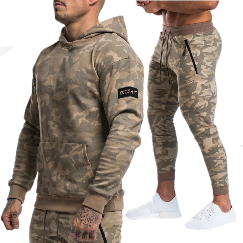 Sportsuits Set Men 2019 Brand Fitness Suits Autumn Men Set Long Sleeve Camouflage Hoodies+Pants Gyms Casual Sportswear Suit