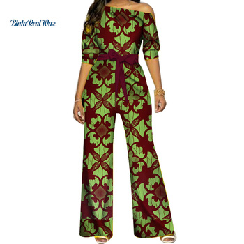 African Clothes Dashiki Ankara Print Romper Jumpsuit Women Clothing Bazin Riche Cotton with Waistband WY3925