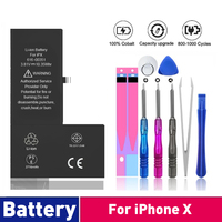 0 Cycle Replacement Li Polymer Battery For iPhone X 10 High Capacity Bateria For iPhone X With Free Tools Kit 1