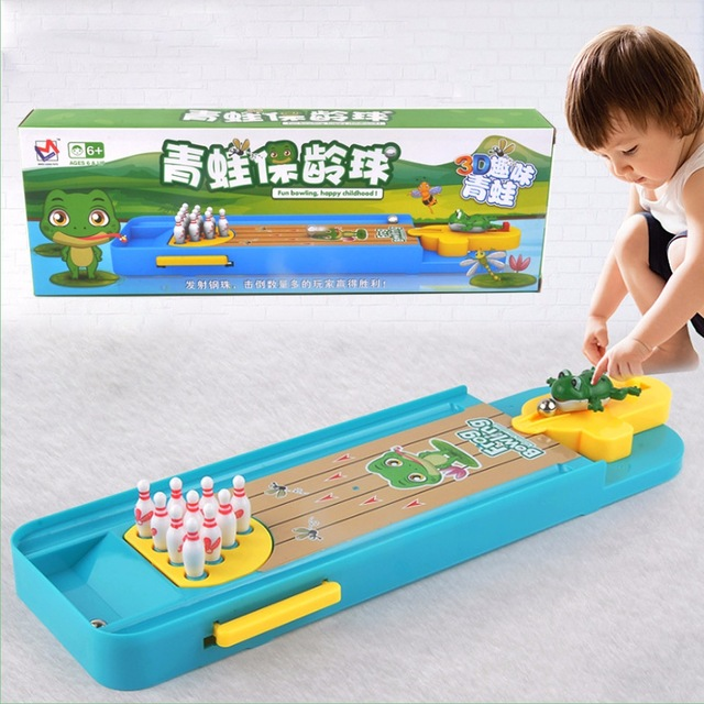 Indoor Mini Desktop Bowling Game Mini Finger Catapult Frog Bowling Table Launch Pad Game Launcher Toy