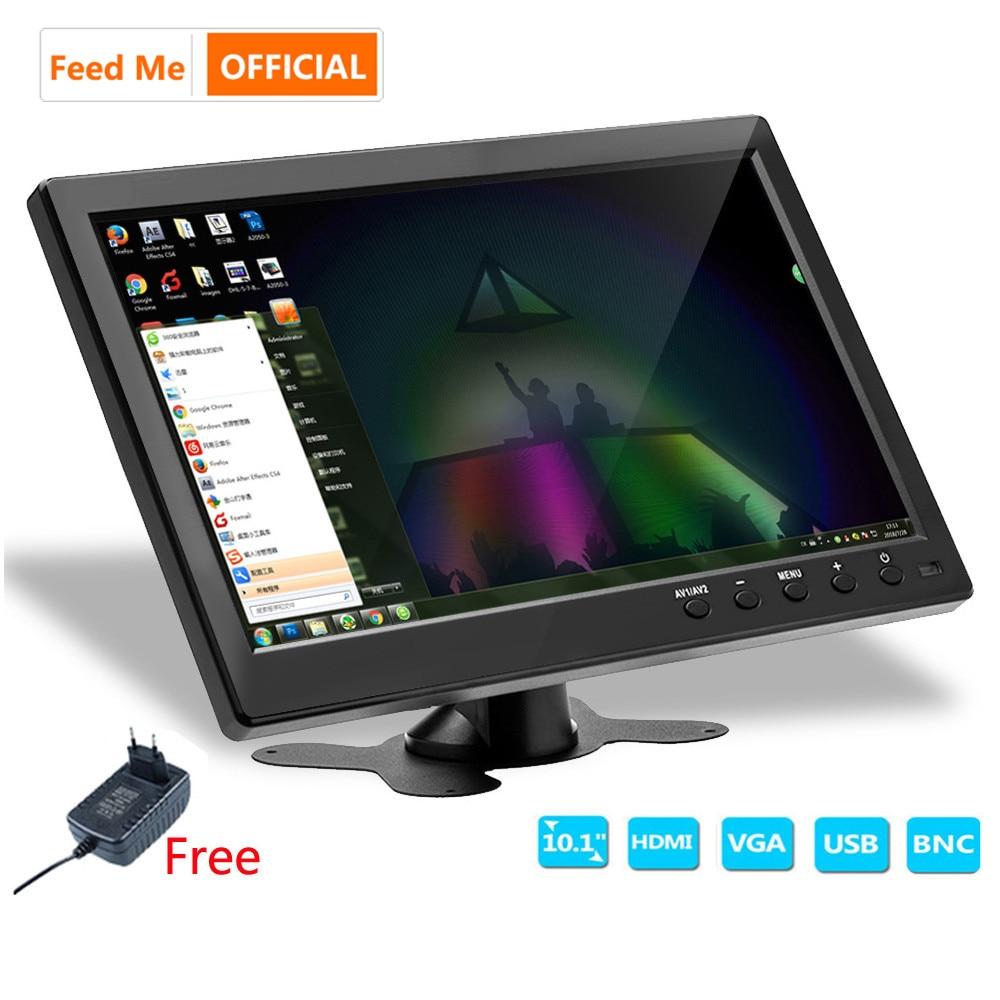 Feed Me 10 zoll LCD HD Monitor Computer-Display Farbe Bildschirm 2 Kanal Video Eingang Sicherheit Monitor Mit BNC AVI VGA HDMI