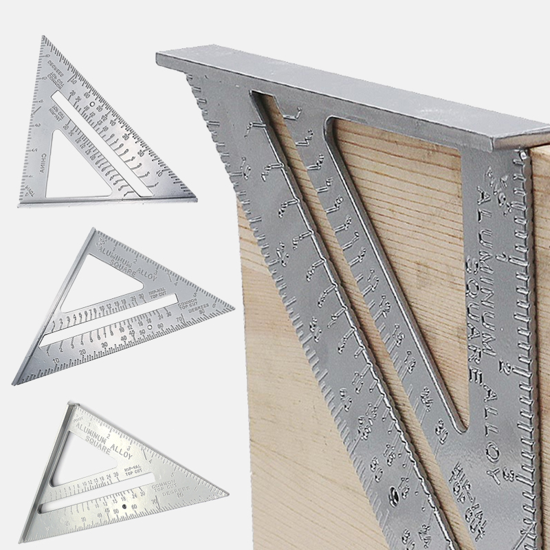 Aluminum Alloy Measurement Tool Triangle Square Ruler Speed Protractor Miter For Carpenter Tri-square Line Scriber Saw Guide