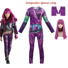 Anilnc Descendants 3 Evie Dark Blue Long Wavy Wig kids adult Cosplay Costume + Jumpsuits halloween costume for kids