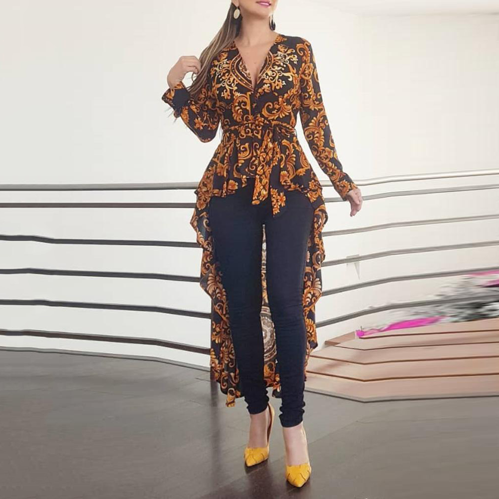 Blouse Women Ethnic Print Irregular Long Shirt Spring Autumn 2019 Ladies Casual Office Tops Workwear Female Slim Shirts D30