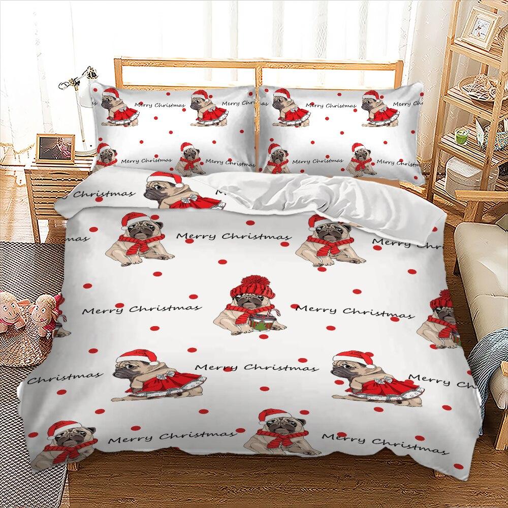 Cute Pug Merry Christmas Bedding Set Kids Duvet Cover With Pillowcase Twin Queen King Size Bed Set 3pcs Bedlinen