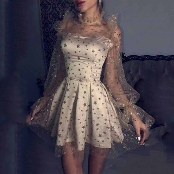 Sevintage Shinny Glitter Tulle Cocktail Dress Long Sleeves Vintage Satin Homecoming Gowns High Neck Girls Short Prom 2020
