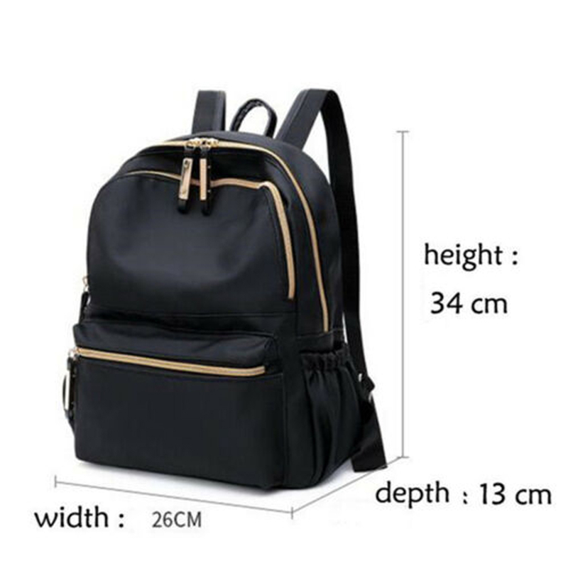 Fashion Women Ladies Backpack Solid Casual Rucksack Oxford Cloth Pack Black Backpack