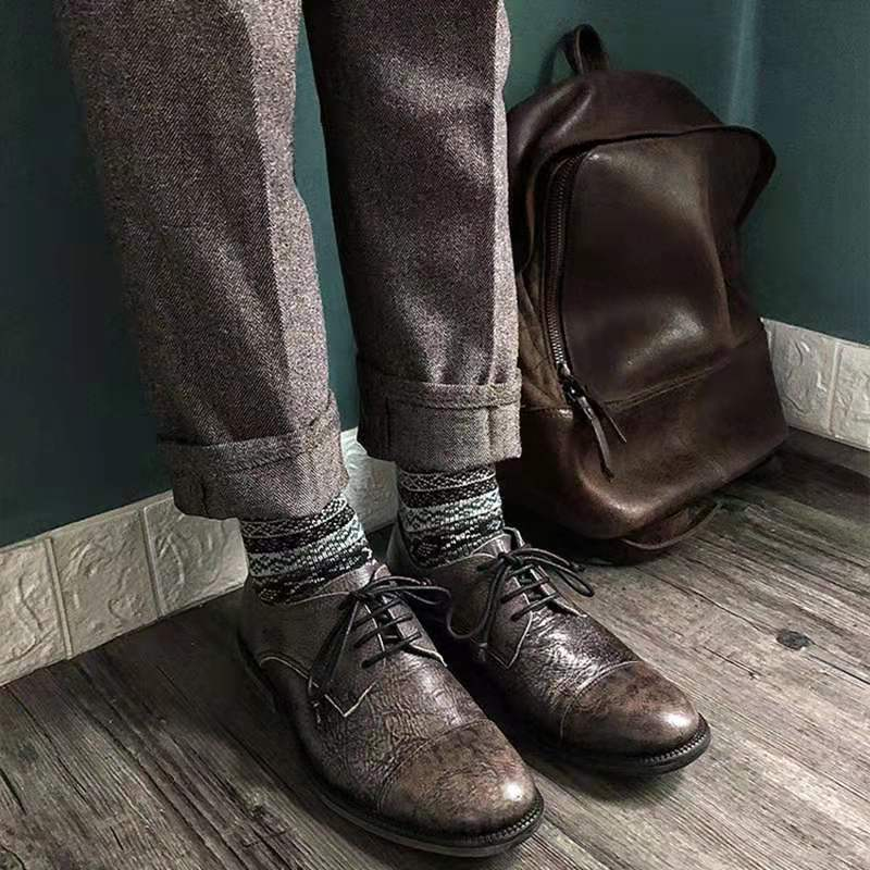 Promo Men Leather Shoes Lace Up Casual Shoes Dress Shoes Brogue Shoes Spring Ankle Boots Vintage Classic Male Casual d221