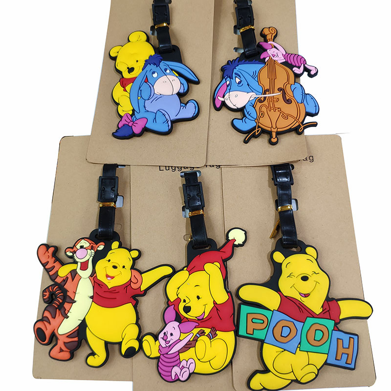 Winnie Bear And Tigger Suitcase Luggage Tag Label For Kids Handbag Pendant Baggage Claim Travel Accessories ID Address Tags Gift