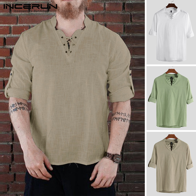 INCERUN 2019 Vintage Men Long Sleeve T Shirt Cotton Lace Up V Neck Solid Pullovers Casual T shirt Men Leisure Plus Size Camiseta in T Shirts from Men 39 s Clothing