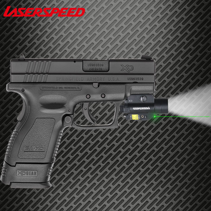 Laserspeed Tactical Gun Light 450LM with Glock 19 Laser Compact Pistol Flashlight Laser Combo image