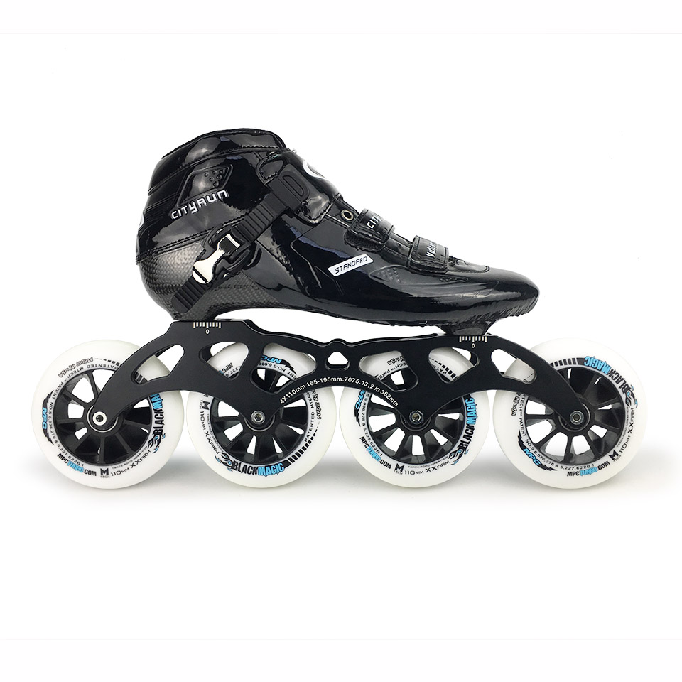 JK Cityrun Professional Speed Inline Roller Skates Carbon Fiber Boots MPC Wheels Racing Speed Skating Shoes Rollerblade SH66
