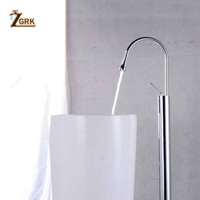 ZGRK Brass Bathtub Faucet Floor Mounted Swive Spout Tub Mixer Tap with Handshower Handheld Bath Shower Mixer Water Set