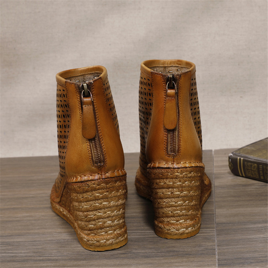 Spring Summer 2020 New Women Wedges Sandals Genuine Leather Peep Toe Hollow Woven High Wedge Heels Shoes Woman High-Top Sandals (8)