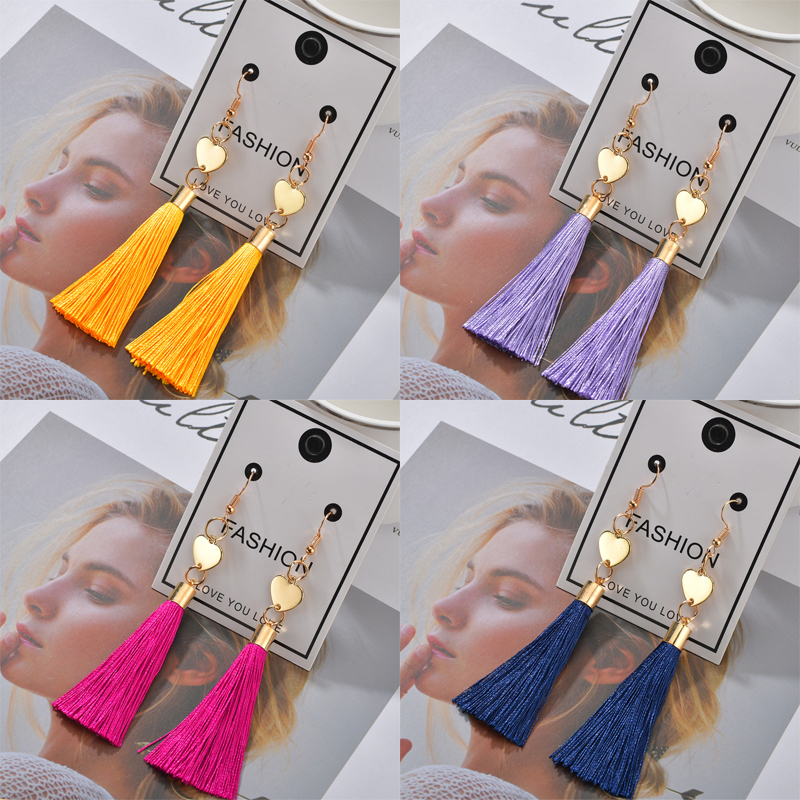 H98642981e5a04402863d70c268f7f6572 - Bohemian Heart Tassel Long Drop Earrings BOHO Pink Blue Silk Fabric Design Dangle Earrings For Women Jewelry Gift Christmas