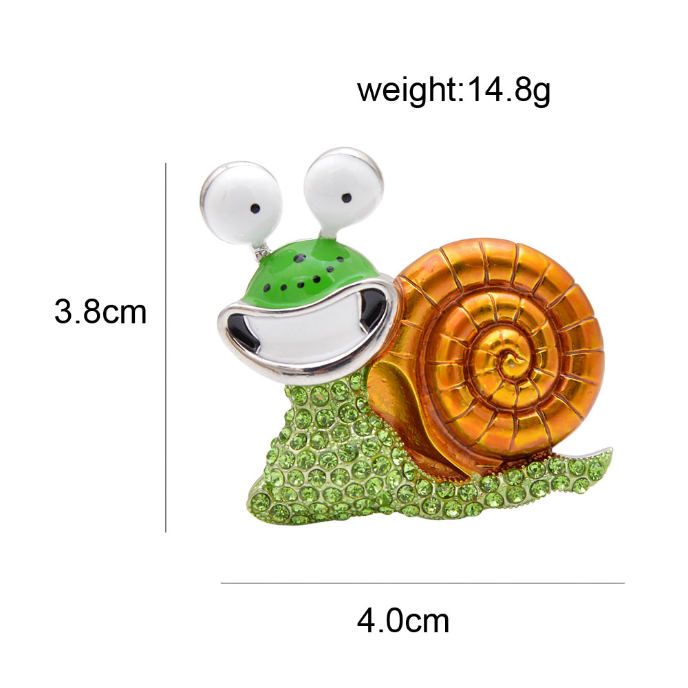 CINDY XIANG Rhinestone Laugh Snail Brooch Cartoon Insect Funny Brooches For Women Enamel Jewelry Autumn Winter Design Pin Gift 2