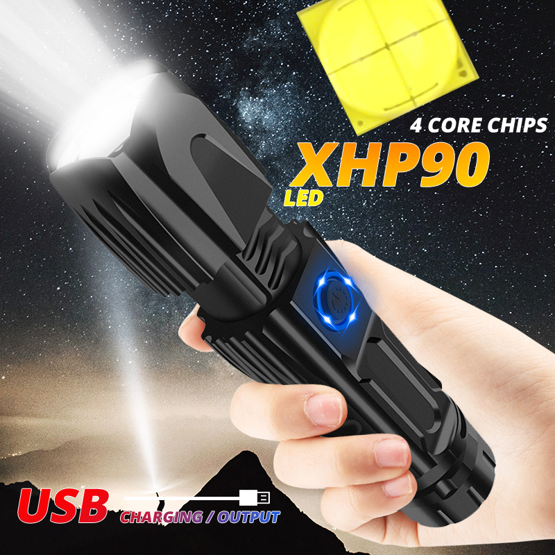 300000lm Powerful XHP90 LED Flashlight Tactical XHP50 Torch Smart Chip Control Bottom Attack Cone Use 26650 Battery For Camping
