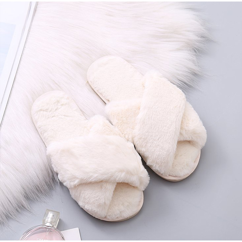 Women Slippers Winter Warm Shoes Woman Slip On Flats Slides Home Female Faux Fur Comfortable Non Slip Slippers Plus Size 36-41