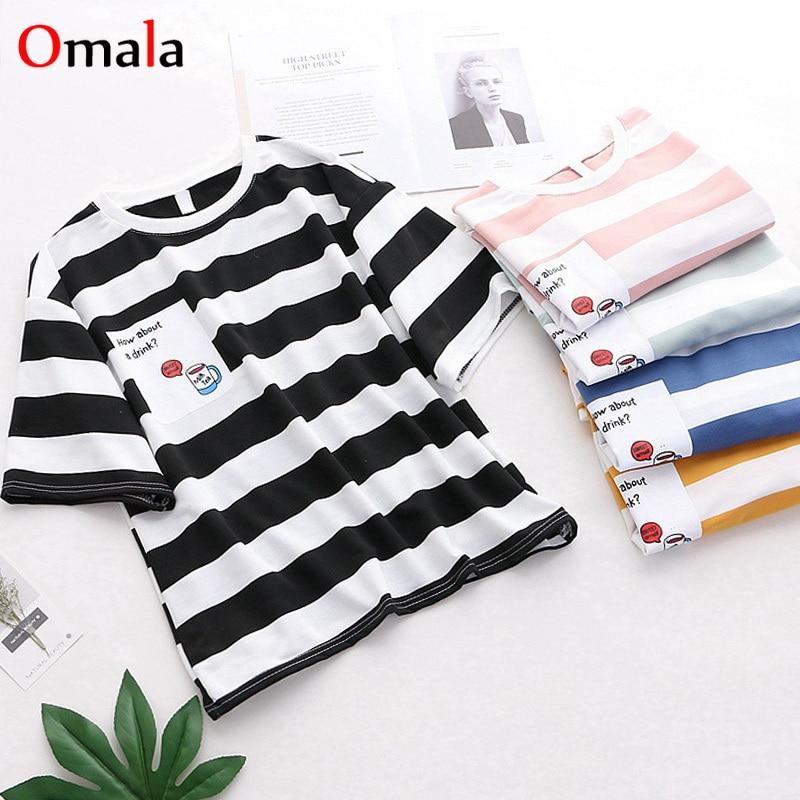 Harajuku Oversize Women T-Shirts Summer Short Sleeve Stripe Print Hip Hop T Shirt BF Style Streetwear Casual Long Tops Tee Shirt