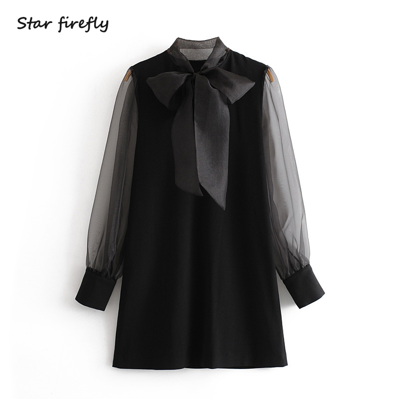 Star Firefly Fashion Za Dress Women 2019 Autumn Casual Slim Elegant Bow Tie Stitching Transparent Mini Dress Female