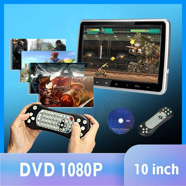 """10.1 """"1024*600 자동차 머리 받침 모니터 DVD 비디오 플레이어 휴대용 자동차 TV 모니터 USB, SD, HDMI, IR, FM TFT LCD 터치 버튼 게임"""