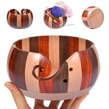 Drewno Handmade Knitting drewniana miska do przechowywania przędzy idealny uchwyt przędzy 5 9 #8221 tanie tanio CN (pochodzenie) Przędzy Przechowywania Drewna Yarn Bowl Pudełka do przechowywania Large Wooden Yarn Storage Bowl yarn storage organizers bowl crochet craft