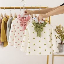 Winter Kids T-shirts Girls Chidlren Baby Infants 2019 Autumn Princess Bow Dot Polka Velvet Long Sleeve Basic T-shirt S10121(China)